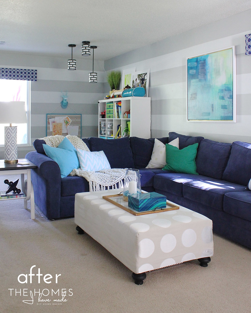 Navy and Turquoise Family Room Reveal
