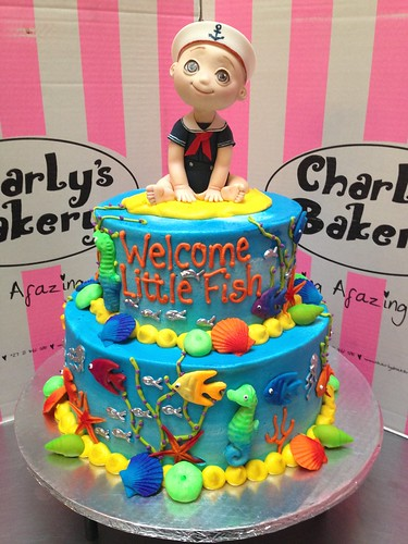 2 tier sea theme baby shower wicked chocolate cake iced in for Fishing themed baby shower