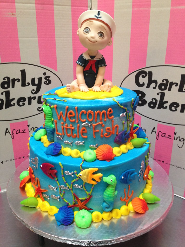 ... 2 Tier Sea Theme Baby Shower Wicked Chocolate Cake Iced In Butter Icing,
