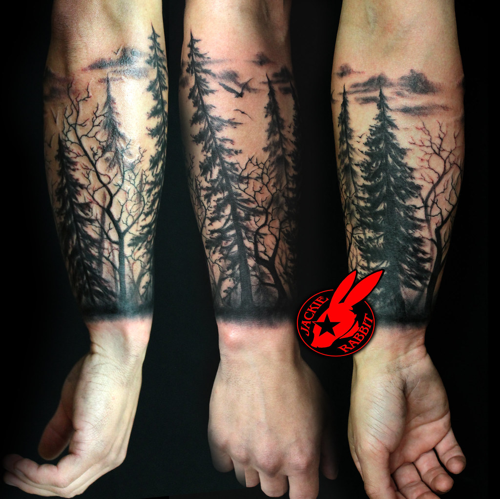 tree silhouette forest pine arm sleeve tattoo by Jackie Ra ...