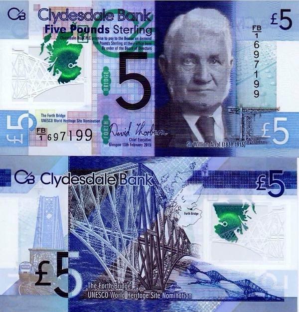 5 škótskych libier Škótsko 2015, polymer