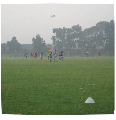 Footy in the Rain