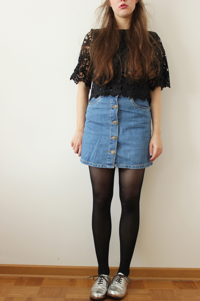 Button skirt - retro denim skirt