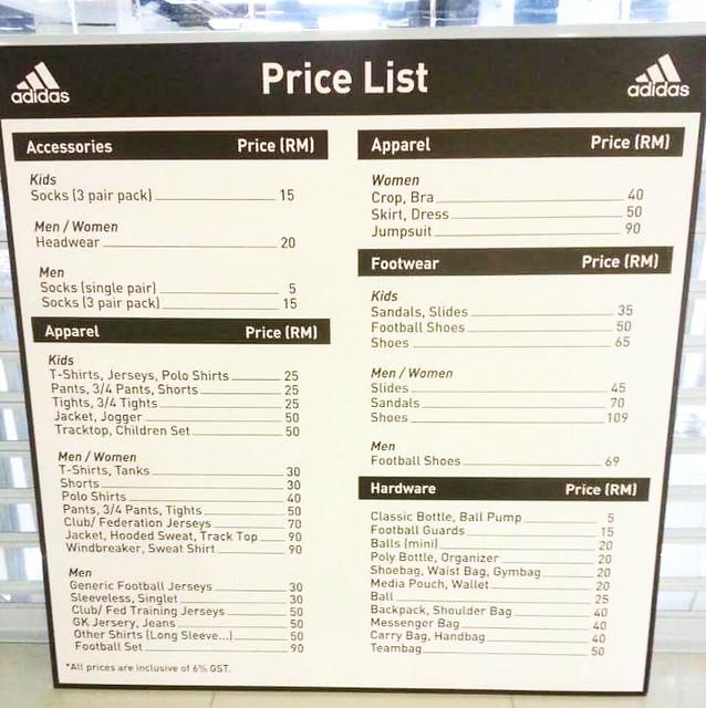 adidas sale price list