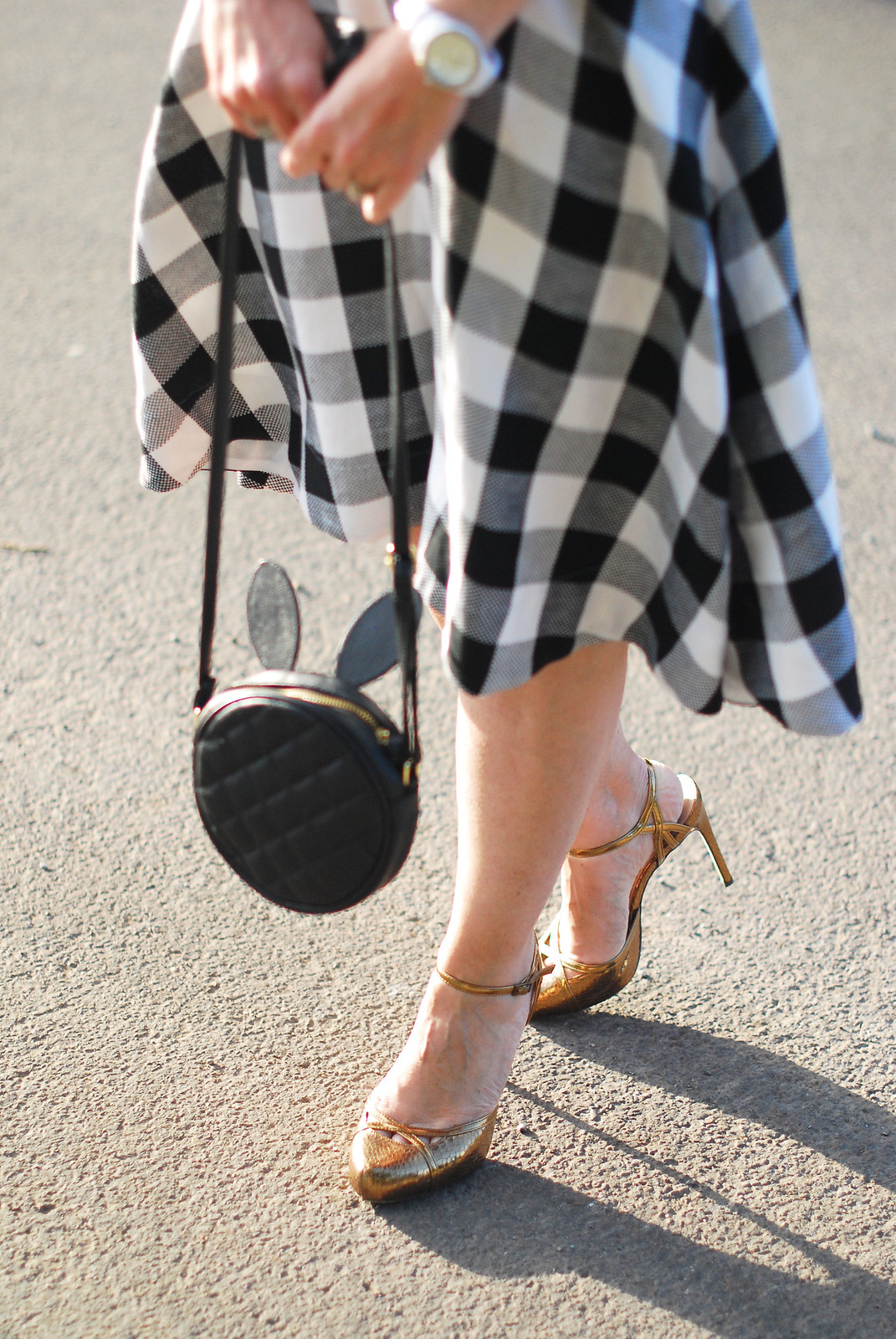 Classic summer dressing: Bardot-style gingham dress, bronze heels, bunny ears bag | Not Dressed As Lamb