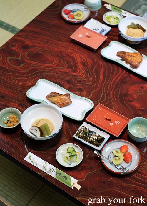 Japanese breakfast with grilled hachime fish at Nakayasu Ryokan, Kanazawa