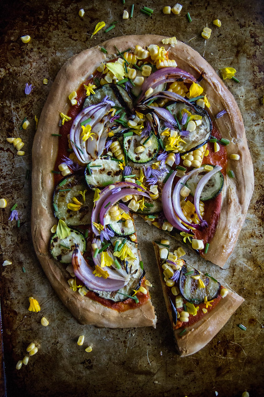 Grilled Eggplant, Zucchini and Corn Pizza