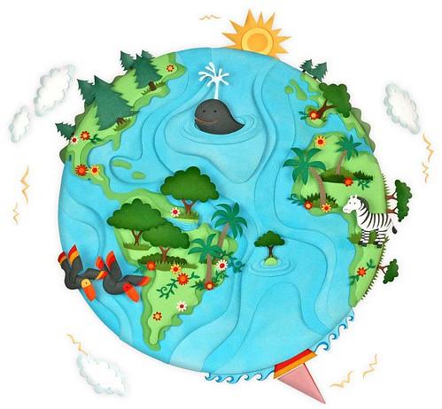 Paper Sculpture Earth Illustration - Patricia Lima