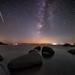 Perseid Meteor Shower over Lake Tahoe's Chimney Beach