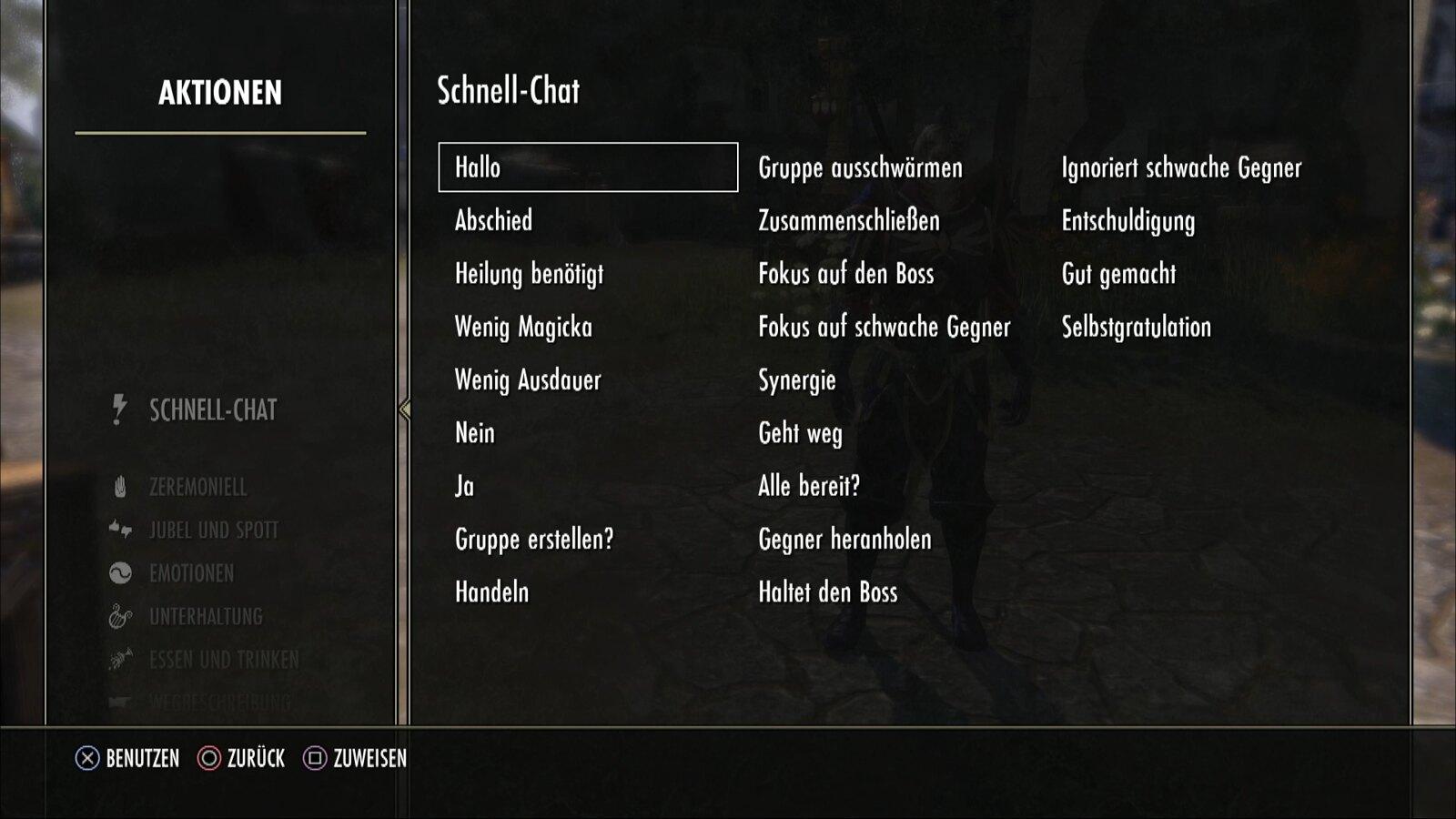 The Elder Scrolls Online - Schnellchat