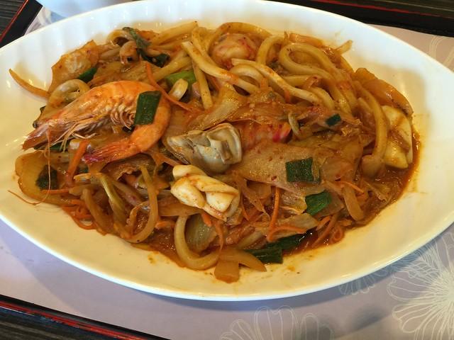 Kimchi Seafood Fried Udon