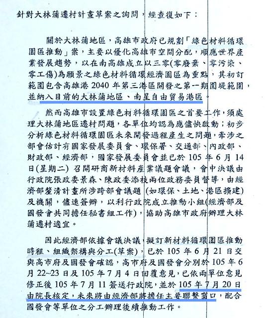 環團經立委取得的「綠色材料循環園區推動」未獲得相關單位回應 資料來源:台灣水資源保育聯盟