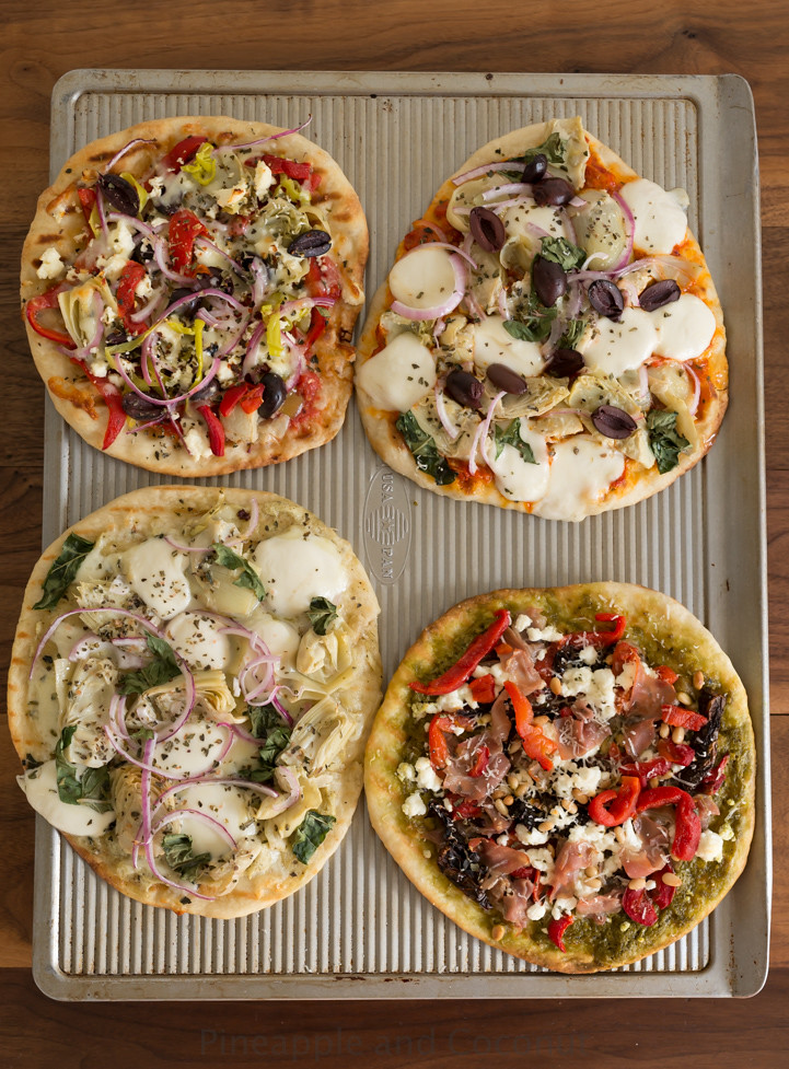 Mediterranean Grilled Pizzas www.pineappleandcoconut.com