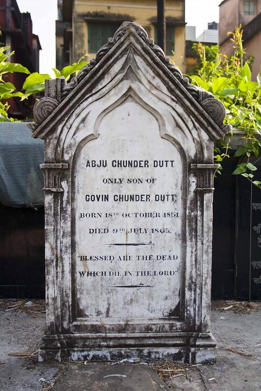 Tomb Stone of Abuj Dutt in Maniktalla Christian Cemetery, Kolkata