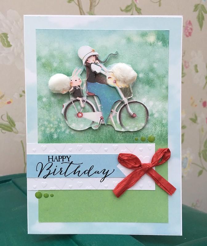 Santoro Kori Kumi girl on bike dandelion puff card by StickerKitten #craftconsortium