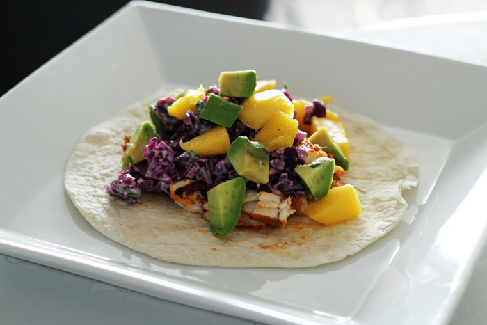 CHILI-LIME FISH TACOS w SOUR CREAM CABBAGE SLAW MANGO n AVOCADO