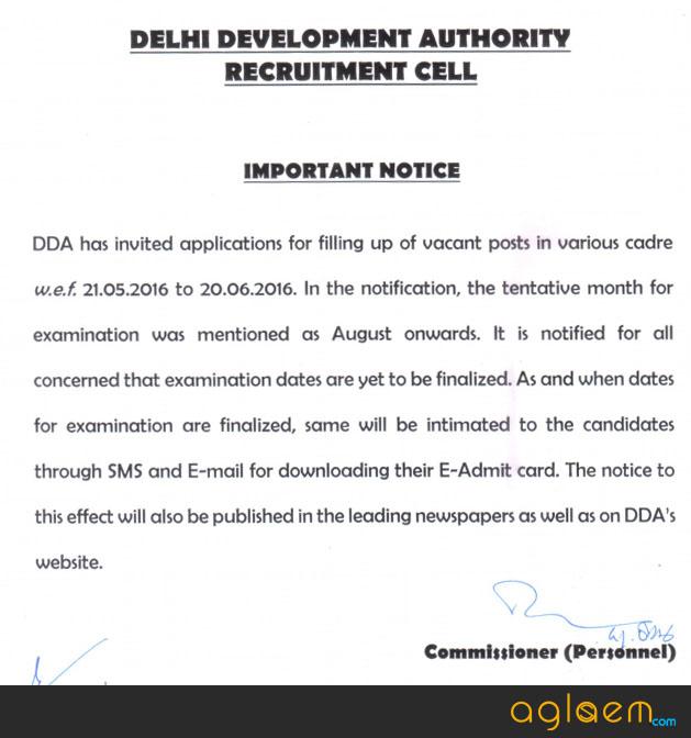 DDA Admit Card Notice
