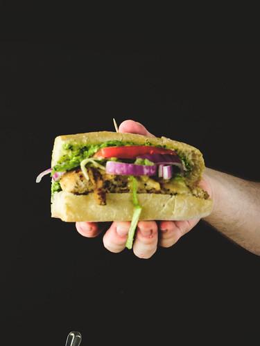 Santa Fe Chicken Sandwich with Cilantro Feta Pesto Butter