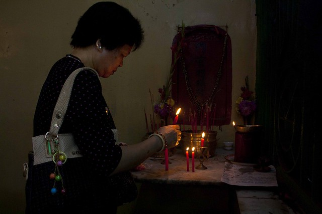 Chinese Lady Offering Prayer - Chinese New Year 2015, Kolkata, India