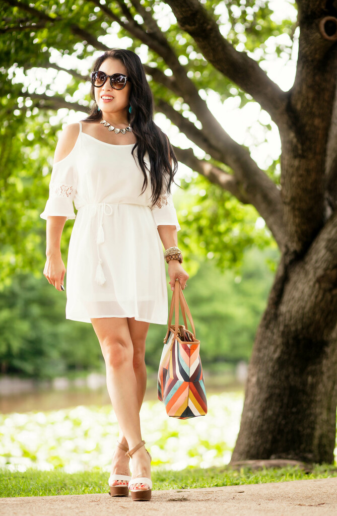cute & little blog | petite fashion | cold shoulder crochet tassel white dress, rocksbox crystal statement necklace, turquoise earrings, shoedazzle linen stacked heel peanut sandals, tory burch kerrington tote | spring summer outfit | little white dress #