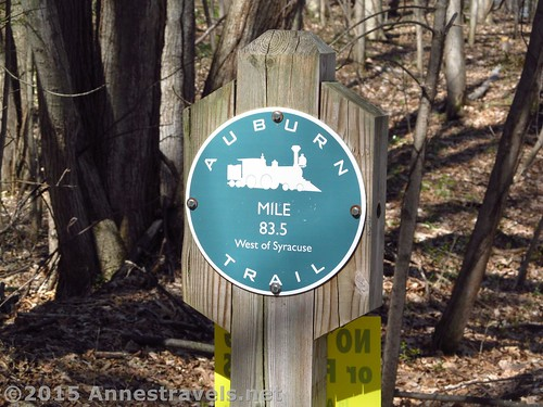 One of the abundant signs marking the Auburn Trail, Victor, New York