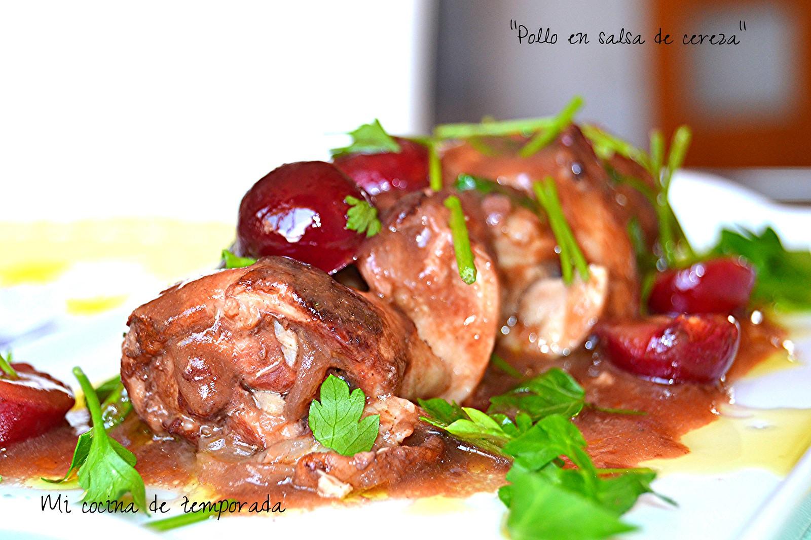 Pollo en salsa de cerezas 009