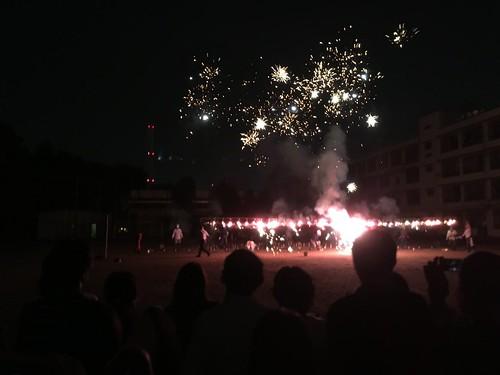 広尾中で花火大会 2016.7.23