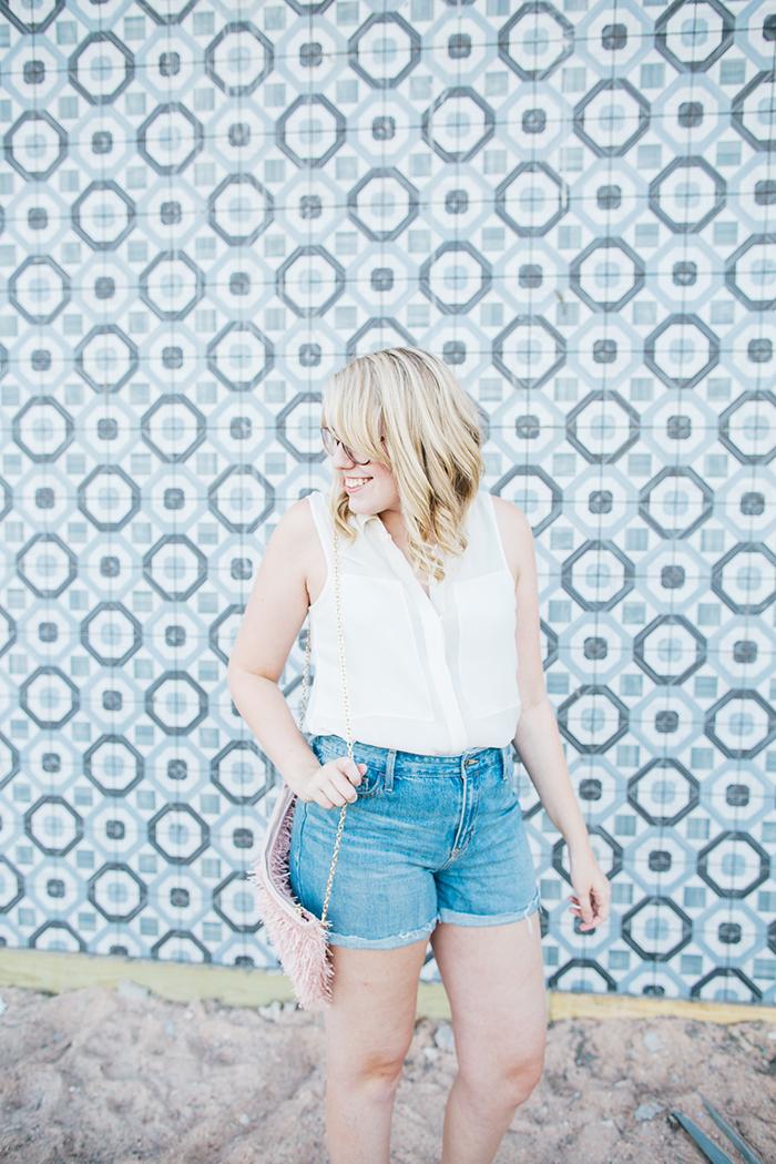 theory blouse denim shorts11