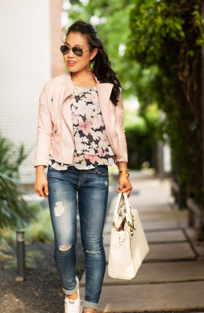 Pink Moto + Sneakers - cute u0026 little | Dallas Petite Fashion Blogger