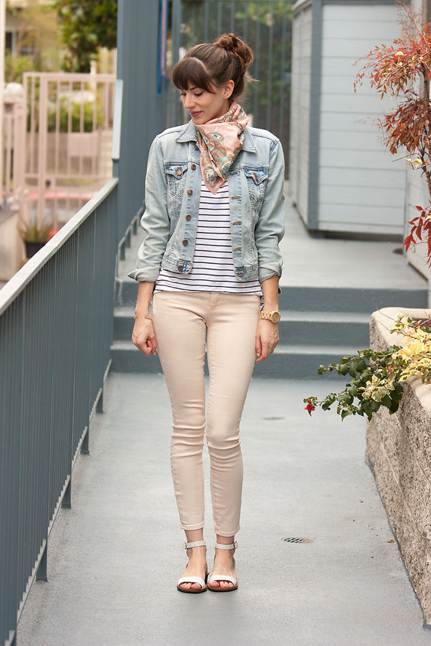 Peach Denim, Striped Tee, Denim Jacket, J.Crew Scarf