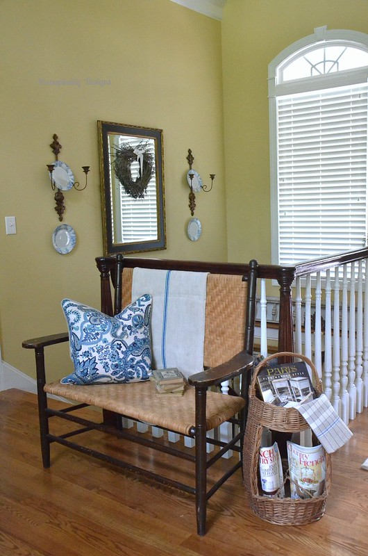 Antique Spit Oak Bench with Antique French Wine Basket-Housepitality Designs