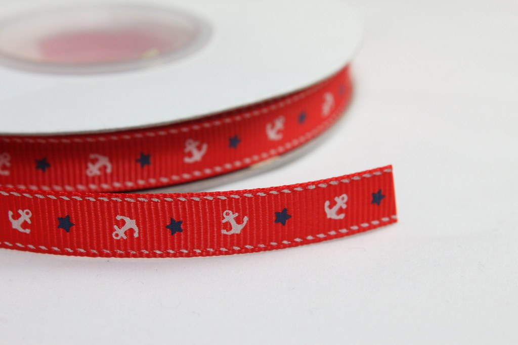 Ripsband 10mm, Anker rot