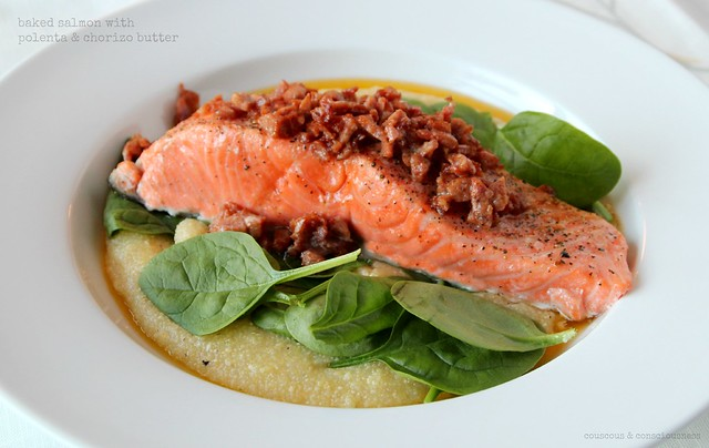Baked salmon with polenta & chorizo butter 3