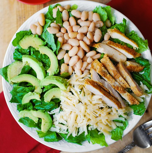Chicken Caesar Salad with Cannellini Beans and Avocado