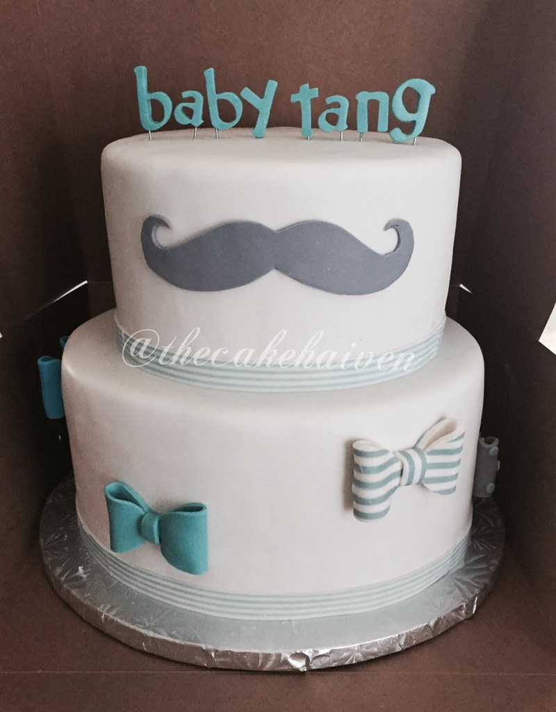 ... Mustache / Bow Tie Baby Shower Cake | By The Cake Haiven
