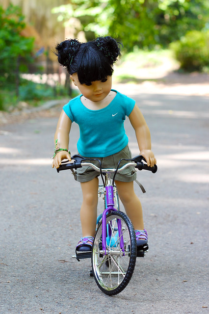 Biking up a hill