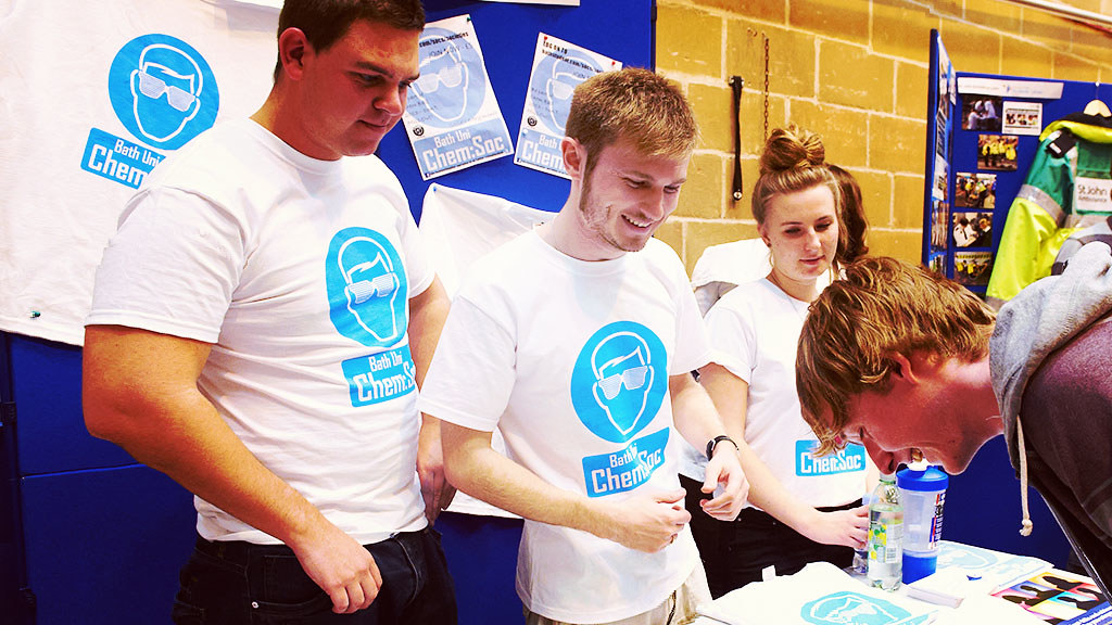 Undergraduates signing up for chemistry club at the Freshers' fair