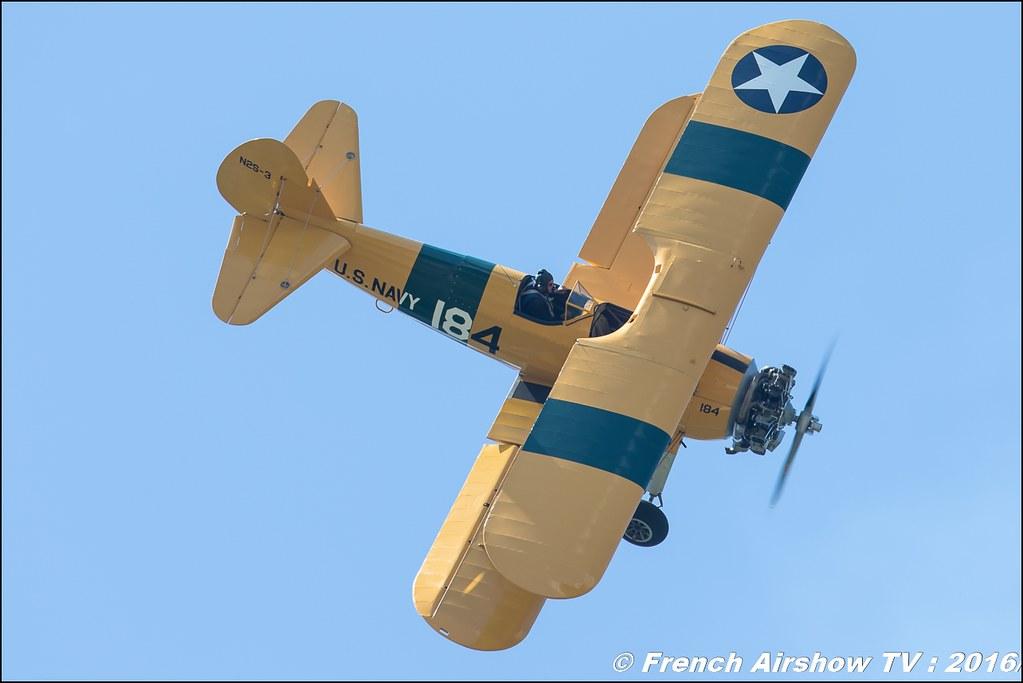 Boeing Stearman PT 18, F-AZST ,Stearman d' Aeroretro Saint Rambert d'Albon , Grenoble Air show 2016 , Aerodrome du versoud , Aeroclub du dauphine, grenoble airshow 2016, Rhone Alpes