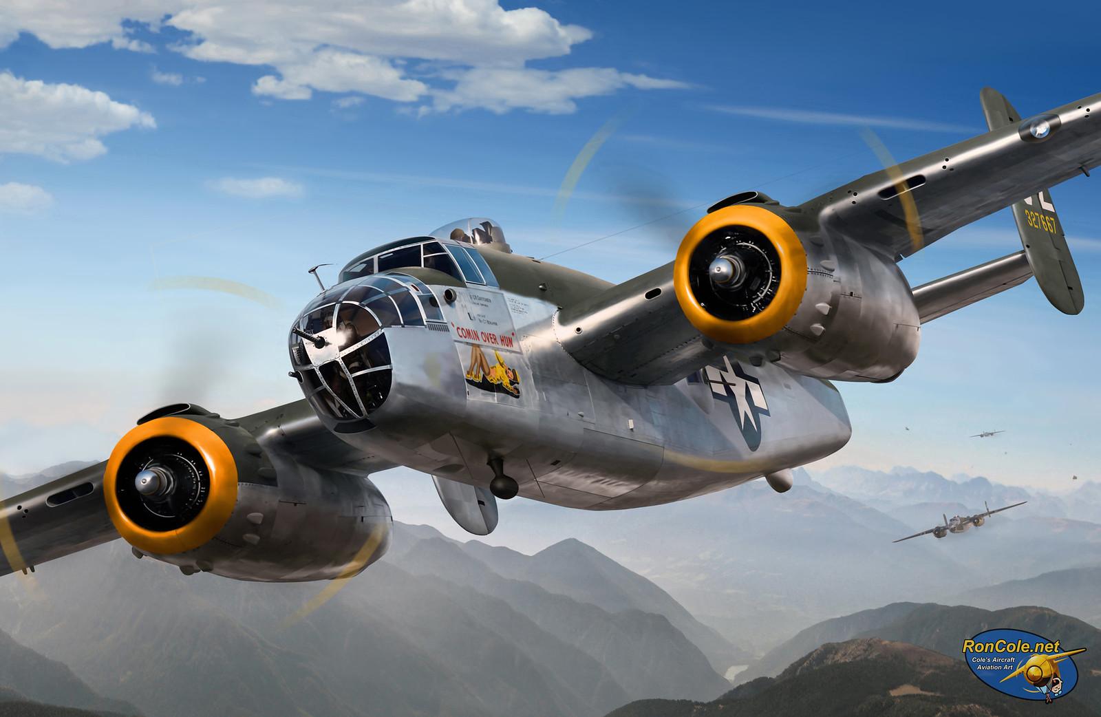 рисунок B-25J 'COMIN OVER HUN'