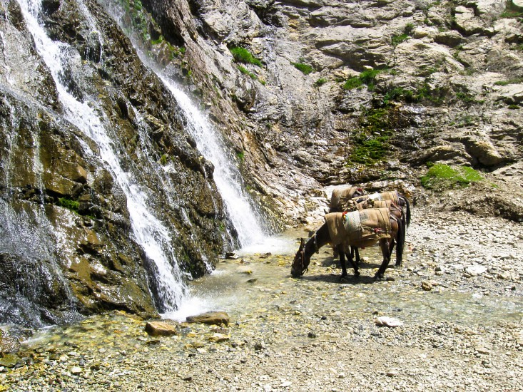 Unnamed Waterfall during Amarnath Yatra 2016, Jammu and Kashmir, India