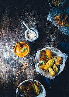 Smoked Paprika & Lentil Dip Sauce with Crispy Potato Wedges | Cashew Kitchen | by cashewkitchen
