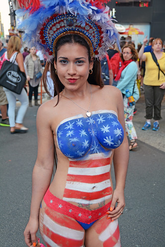 With the warm weather here the women in body paint return for Painting jobs nyc