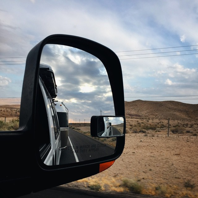 On the road again. Saying goodbye to California and headed to the state of Nevada, where we plan to visit a few buffets in Vegas with our stretchy pants on and then we'll roll ourselves to Great Basin National Park. #malimishintherearview