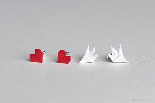 Origami Heart and Crane Paper Earrings from NANA ZOOLAN