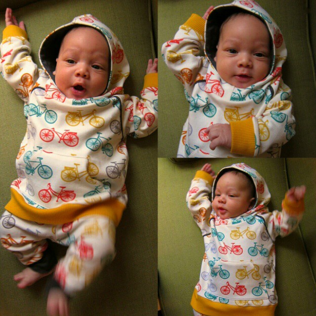My first sewing project since D was born 9 weeks ago. Little dude doesn't mind it's two sizes too big. #SHBsewalong #brindilleandtwig #raglanhoodie #sewingforboys #bicycleprint