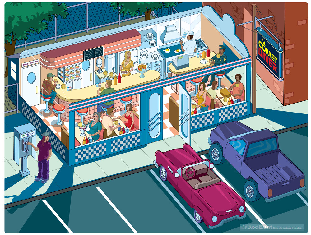 American Diner Illustration Isometric Pixel Art By Rod H