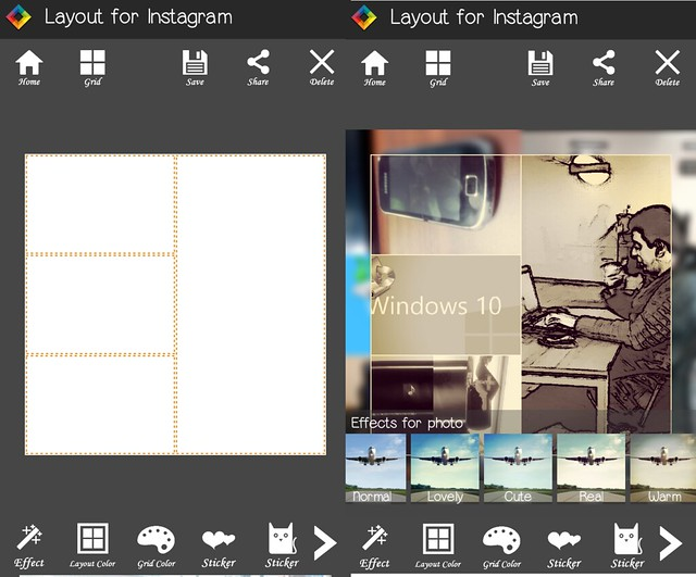 edition des photos layout for instagram pour Android
