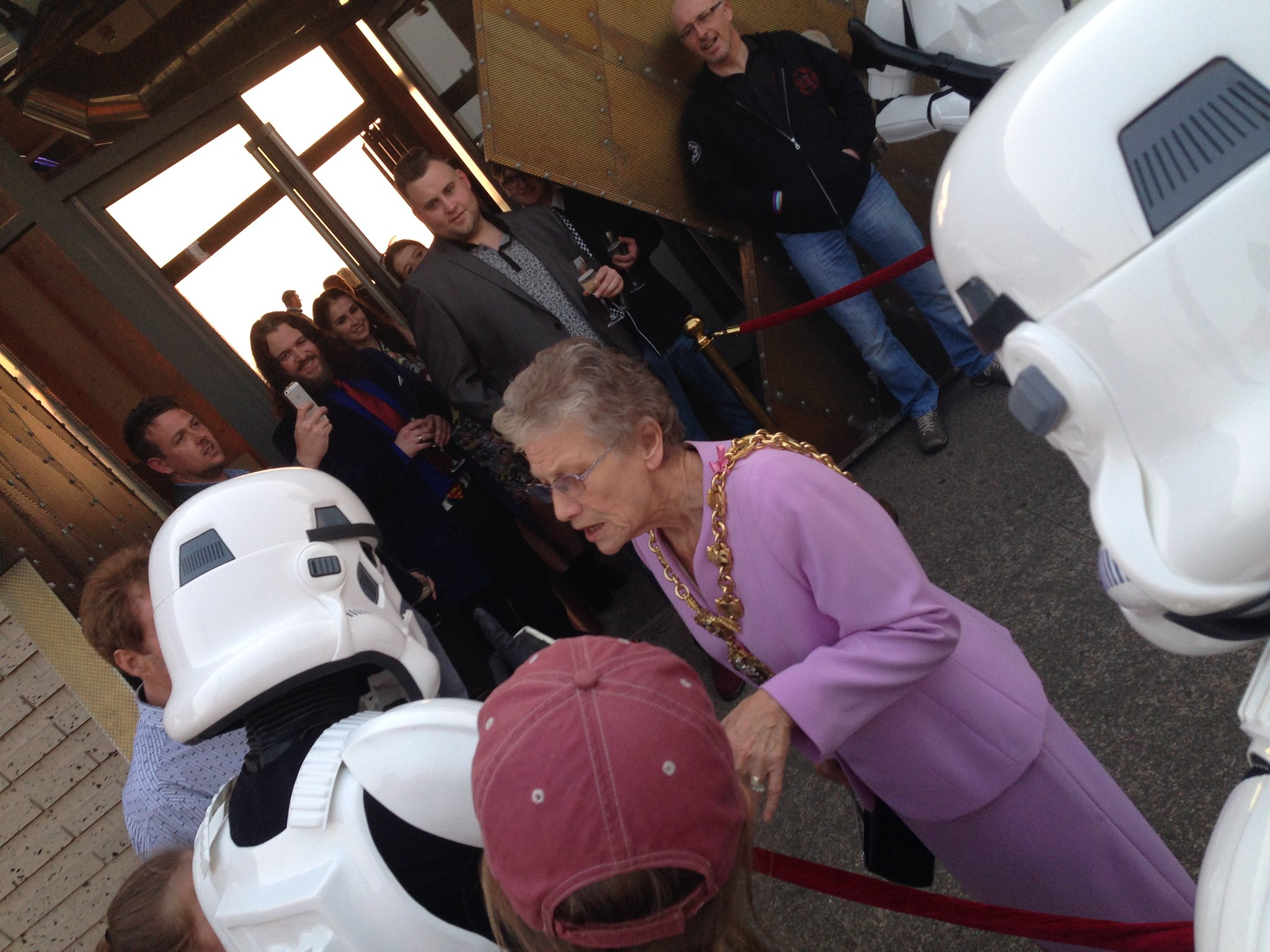 Blackpool Comic-Con Launch Party - Star Wars Stormtroopers giving an Imperial welcome to the Mayoress of Blackpool