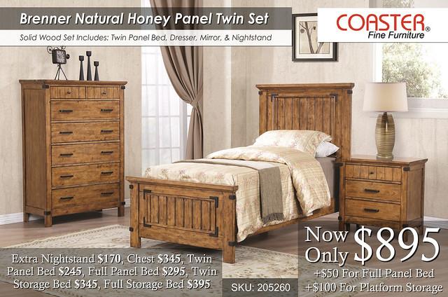 Brenner Natural Honey Twin Panel Bedroom Set