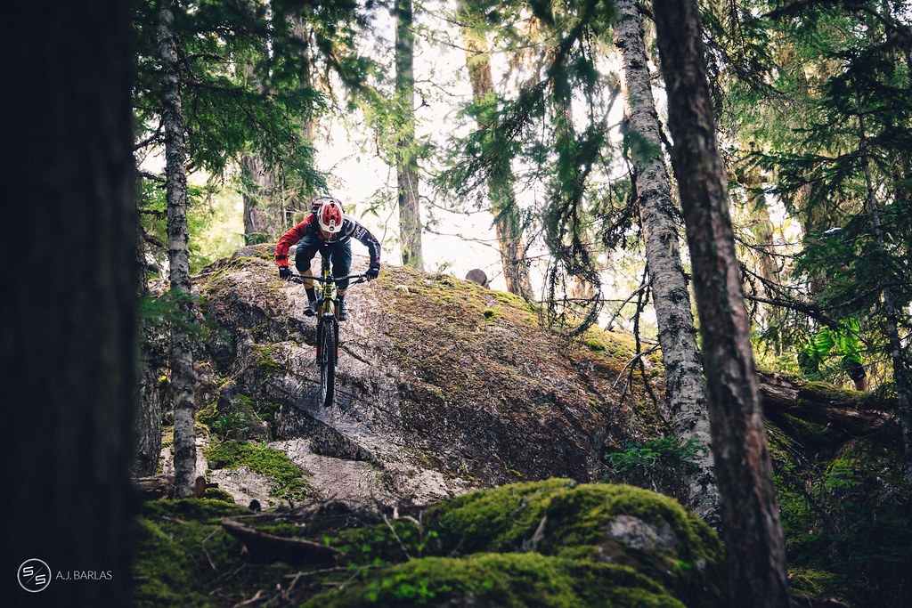 Jesse Melamed, elevator drop on Bush Doctor trail, Whistler